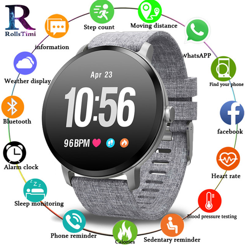 RollsTimi Hot V11 montre intelligente hommes femmes étanche verre trempé activité Fitness Tracker moniteur de fréquence cardiaque sport Smartwatch-in Bracelets connectés from Electronique    1