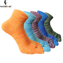 Veridical 5 Pairs/Lot Men Socks With Toes Cotton Colorful Color Fashions Five Finger Socks Hip Hop Casual Ankle Cool Socks