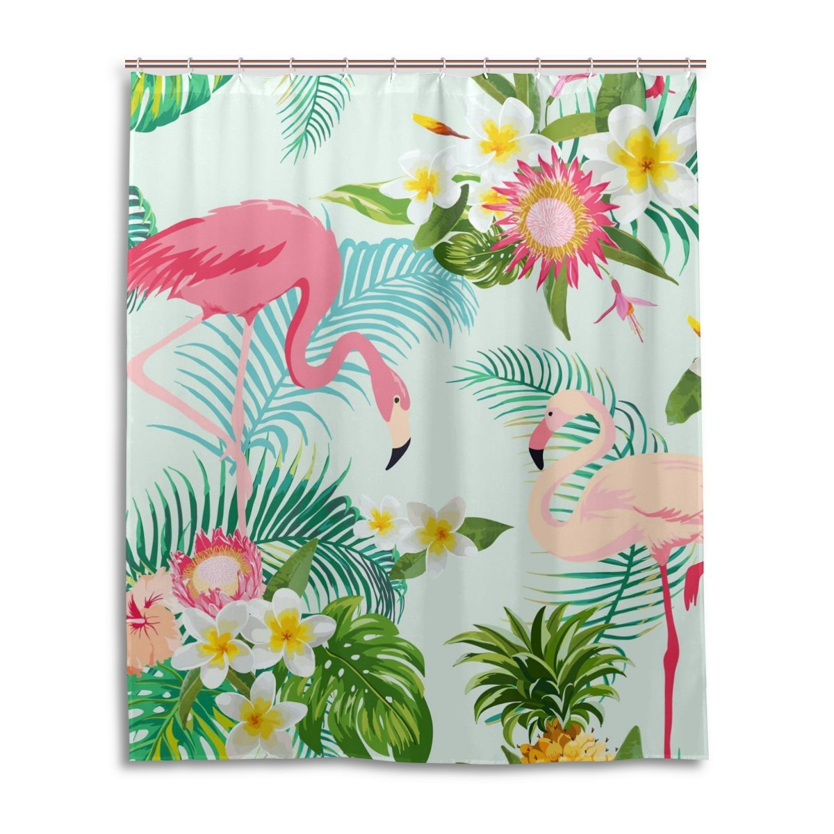 Shower Curtain Leaf Flower Flamingos Pattern Print 100% Polyester Fabric Shower Curtain for Home Bathroom Decorative Shower