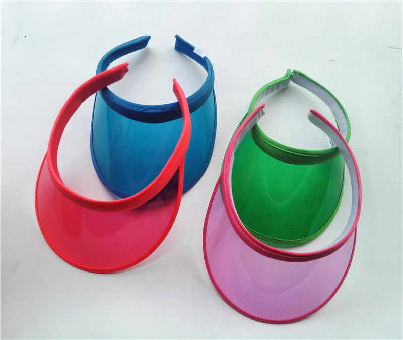 cd30078e170e7c ... New PVC Plastic Sun Visor Hats Women's Large Brim Candy Casual  Windproof Caps For Cycling UV ...