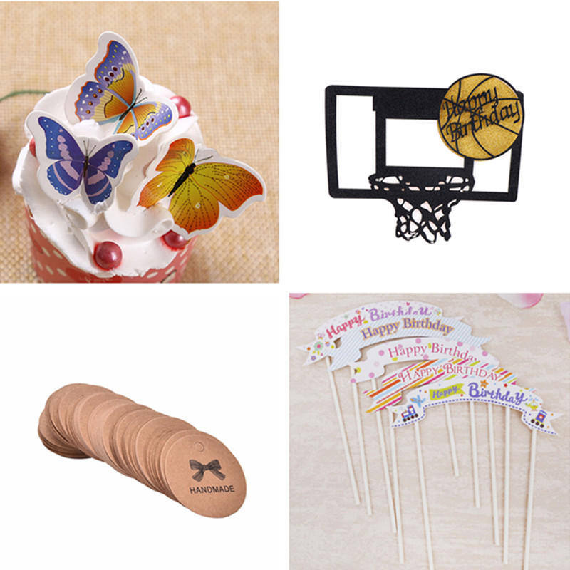 Wedding & Anniversary Bands Creative Style Party Happy Birthday Basketball Cupcake Cake Toppers Art Door Cake Flags Kids Baby Shower Wedding Baking Decor