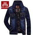 AFS JEEP hombres marca chaqueta de mezclilla ropa de moda da vuelta-abajo jeans chaqueta escudo abrigos abrigo de mezclilla estilo vaquero