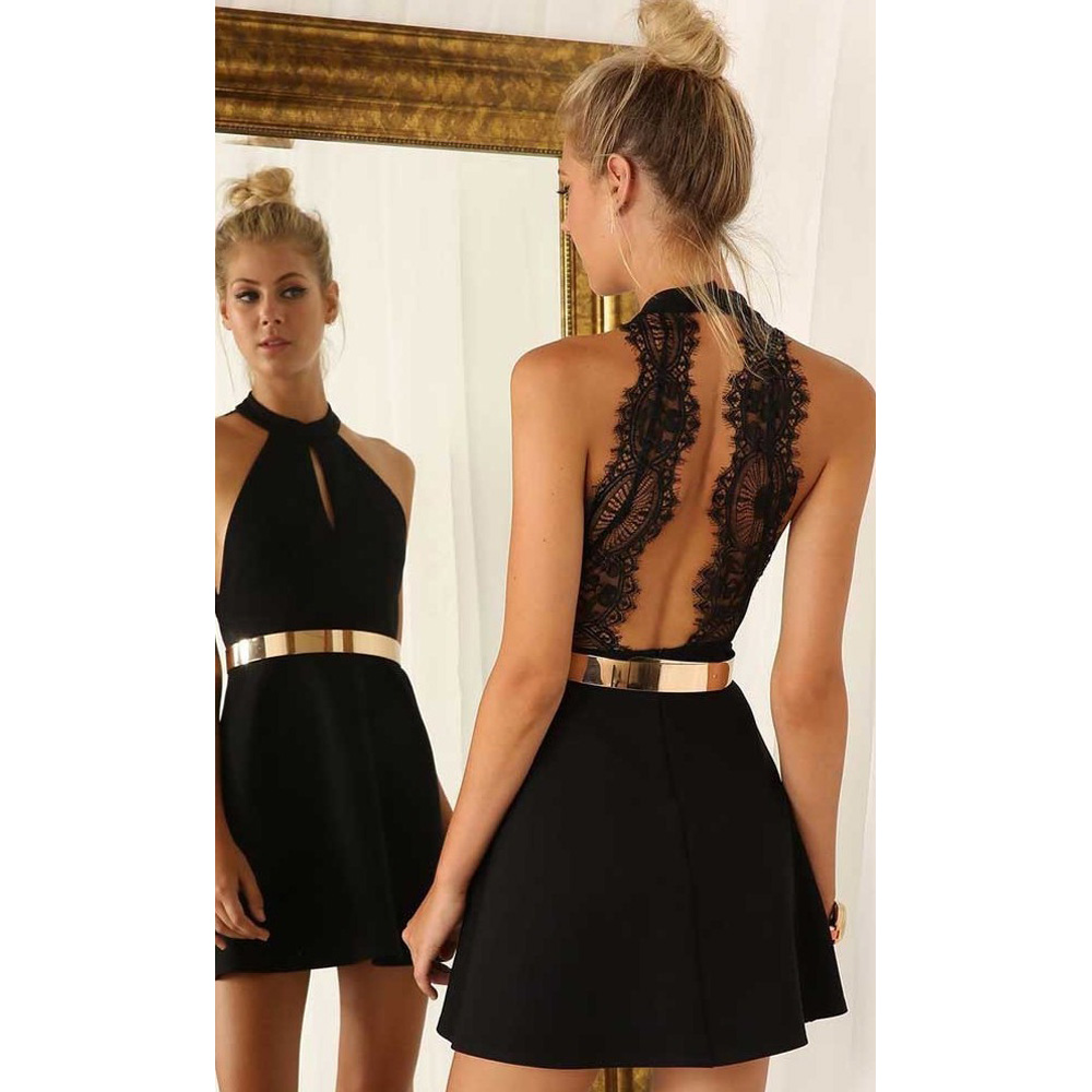 Fashionable Short Black Homecoming Dresses Halter Sleeveless ...