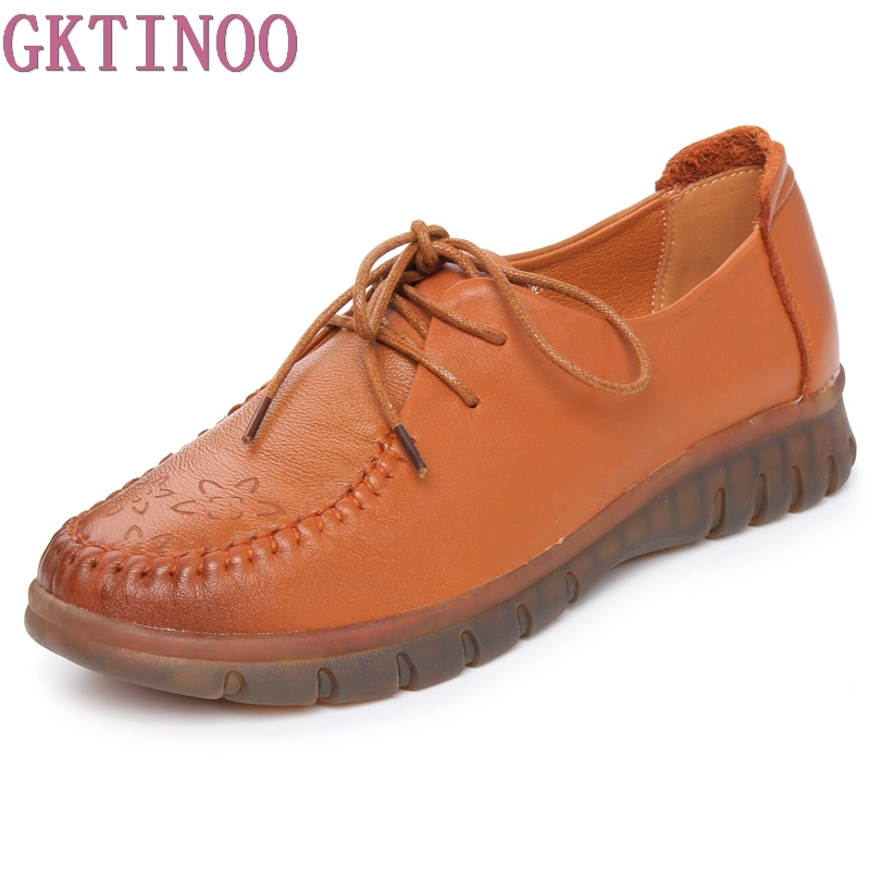 GKTINOO Genuine Leather Soft Shoes For Women Round Toe Lace-Up Casual Shoes Spring And Autumn Flat Loafers Shoes genuine cow leather spring shoes wedges soft outsole womens casual platform shoes high heel round toe handmade shoes for women