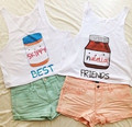 Free Shipping 2015 Newest Fashion Summer Style Crop Tops Nutella Printed Two Style Friends Clothes men/ Women's Tank Tops