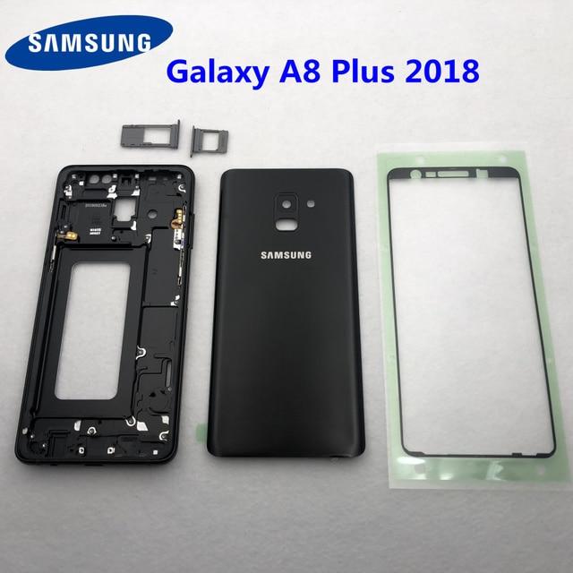 Per Samsung Galaxy A8 Più 2018 A730 A730F Alloggiamento Pieno Medio Frame Lunetta in metallo Housing Telaio A8 + Batteria di Vetro della Copertura posteriore