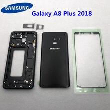 Для Samsung Galaxy A8 Plus 2018 A730 A730F полный корпус средняя Рамка металлическая рамка Корпус Корпуса A8 + стеклянная задняя крышка аккумулятора