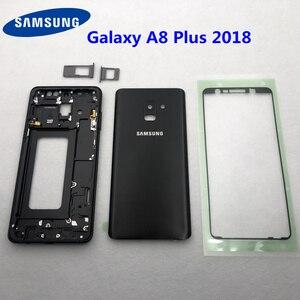 Image 1 - Для Samsung Galaxy A8 Plus 2018 A730 A730F полный корпус средняя Рамка металлическая рамка Корпус Корпуса A8 + стеклянная задняя крышка аккумулятора