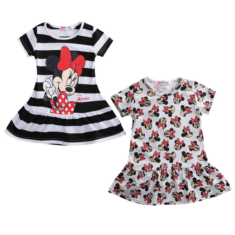 86850856ef1f0 new fashion Toddler Baby Girls dress cartoon Summer striped Short Sleeve  Casual Dress Sundress