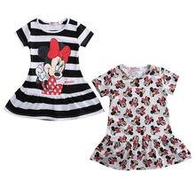acbb7fc3a6 Nowa moda maluch dziewczynek sukienka kreskówka lato paski z krótkim  rękawem na co dzień sukienka Sundress