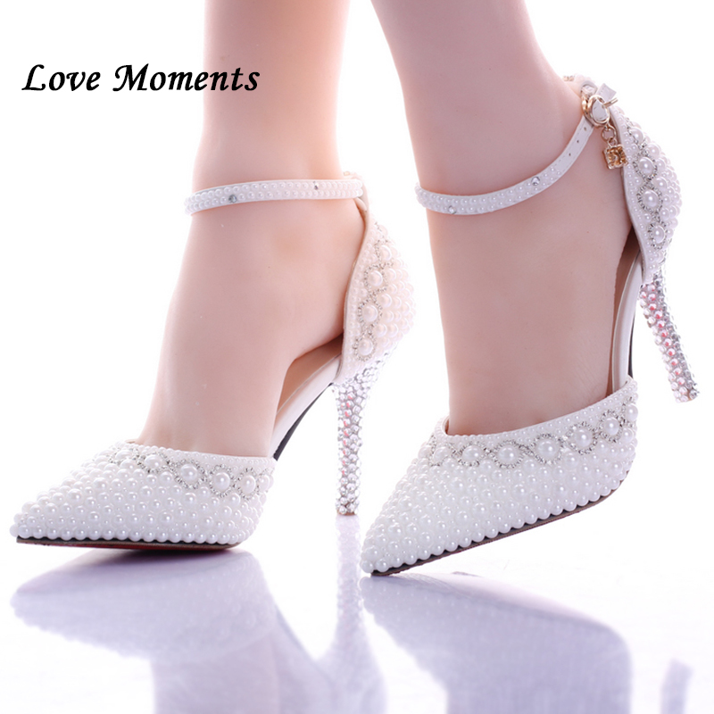 9c3209cd04b6 Love Moments Pointed toe White pearl rhinestone wedding shoes 7cm 9cm thin  heels shoes fashion bridal shoes female party sandals