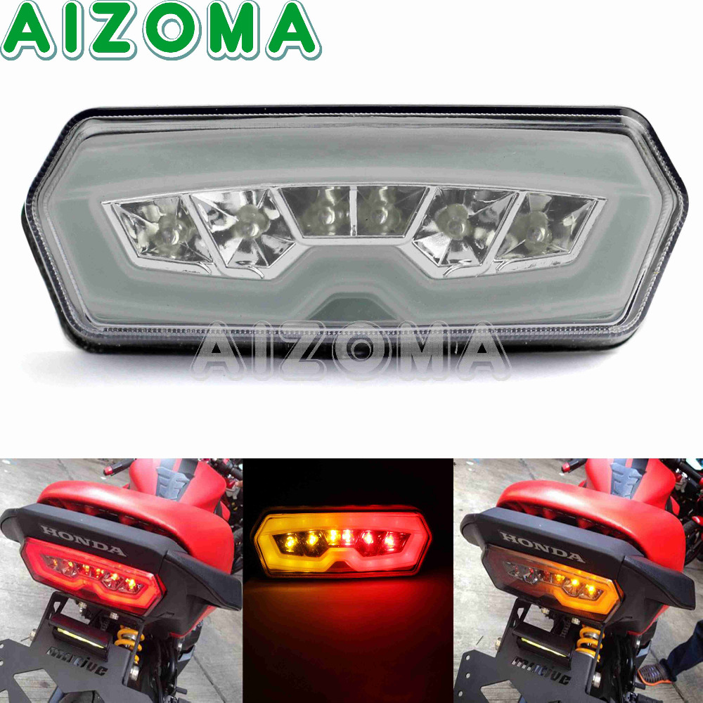 Red Integrated Tail Brake Light Turn Signal For Honda MSX //Grom 125 2013-2016