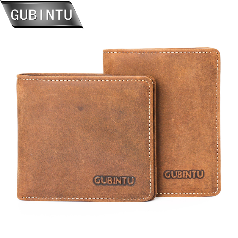 GUBINTU Vintage Crazy Horse Leather Men Wallets Handmade Cowhide Coin Purse Genuine Leather Wallet For Men Card Holder carteira genuine crazy horse cowhide leather men wallets fashion purse with card holder vintage long wallet clutch bag coin purse tw1648