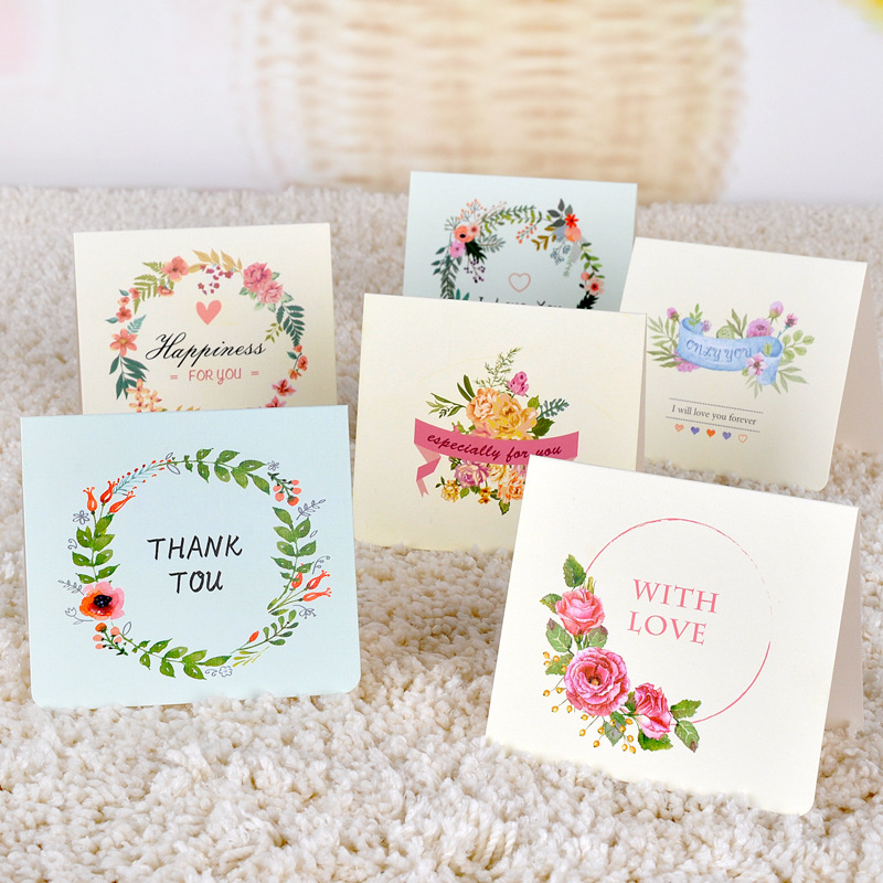6pc/lot Creative flower universal greeting card / Mini Holiday ...