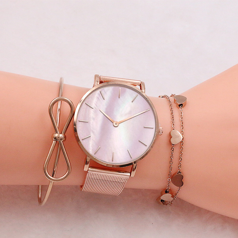 Mavis Hare Rose Gold Love Heart Chain Bracelet With Cute bowknot Bangle and Pink Seashell Wristwatches Women Watches set as gift