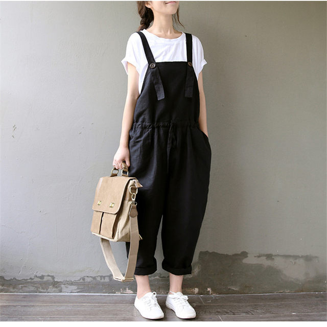 7ffe2260a6d Online Shop 2018 Spring Women Black Rompers Trousers Overalls Cotton ...