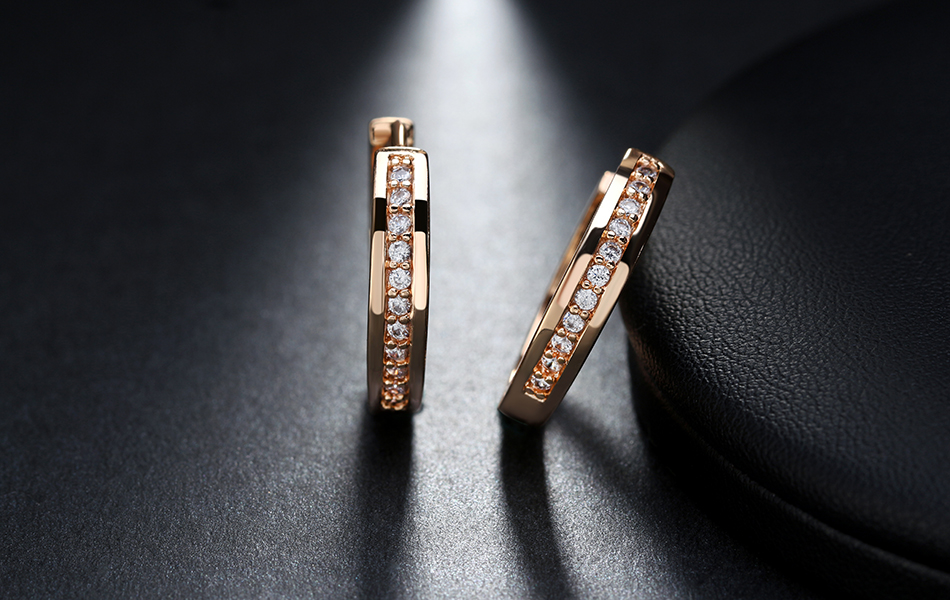 Effie Queen Cute Romantic Style Earrings Jewelry Gold -color Paved with AAA Cubic Zircon Stud Earrings for Women DDE34 7