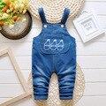 2016 niños del resorte nuevos Denim Bib pants 1 2 3 años de edad de algodón agradable bebé niño niñas niños vaqueros B159