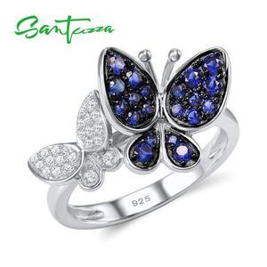 Image 3 - Santuzzaジュエリーセット女性のための本物の925スターリングシルバーゴージャスなブルー蝶イヤリングリングセット光沢のあるczファッションジュエリー