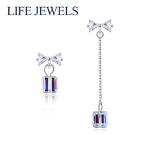 цена Authentic 100% 925 Sterling Silver Crystal Drop Earrings  l Women Luxury Sterling Silver Valentine's Day Jewelry Gift 18103