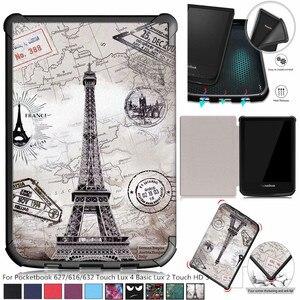 Тонкий Магнитный чехол с рисунком для Pocketbook 627/616/632, чехол для PocketBook Touch Lux 4 Basic Lux 2 Touch HD 3, чехол