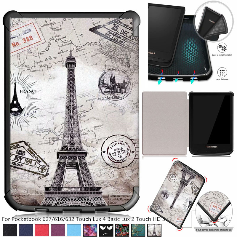 >Painted Slim Magnetic cover case for Pocketbook 627/616/632 funda cover for PocketBook Touch Lux <font><b>4</b></font> <font><b>Basic</b></font> Lux 2 Touch HD 3 case