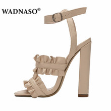 WADNASO Summer Style Women Sandals Bohemia High-Heel Vintage Flowers Woman Shoes Sexy Pumps  Size 34-43 Yellow Purple