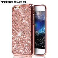 Tobocloo Glitter Bling Soft Cover Case For Apple iPhone X 6 6S 7 8 Plus Case Phone Protector Silicon TPU Coque Gold Color Case