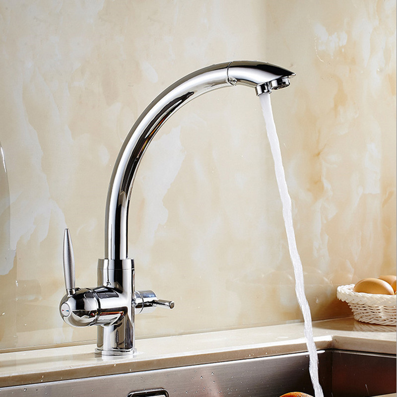 Free shipping Luxury fliter kitchen faucet with dual handle kitchen sink faucet and solid brass kitchen