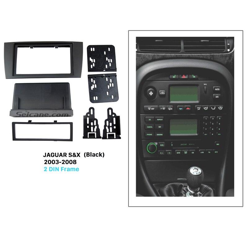 Seicane Black Double Din Car Radio Fascia for 2003 2008 Jaguar S&X Stereo Interface DVD GPS Trim Install Frame