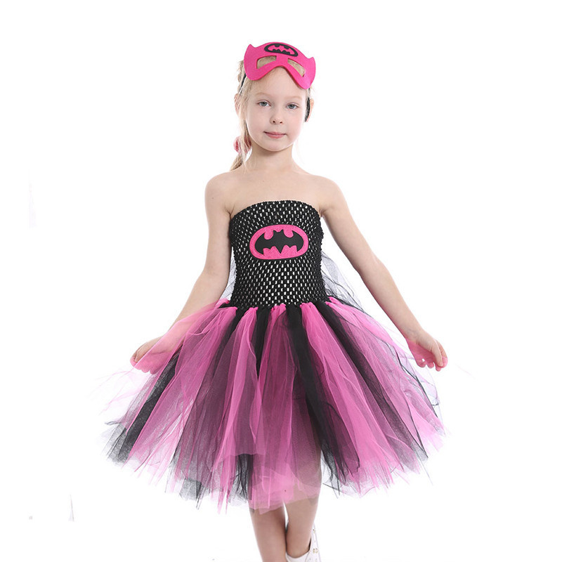 Super Hero Batgirl Girl Tutu Dress with Mask Kids Party Dresses for Girls Children Cosplay Costume Princess Prom Dance Dress children girl tutu dress super hero girl halloween costume kids summer tutu dress party photography girl clothing