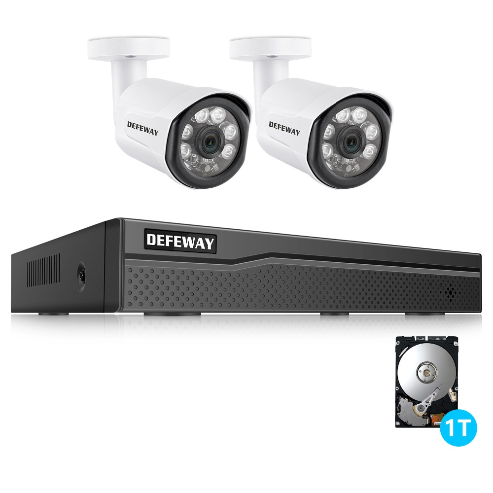 DEFEWAY HD 4CH NVR 1080P POE 48V CCTV System Kit 2MP IP Camera Waterproof IR P2P Video Security Surveillance 2 Camera 1TB HDD