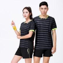 Adsmoney дышащая и быстросохнущая полосатая одежда для бадминтона для мужчин и женщин парные теннисные костюмы рубашка для настольного тенниса шорты