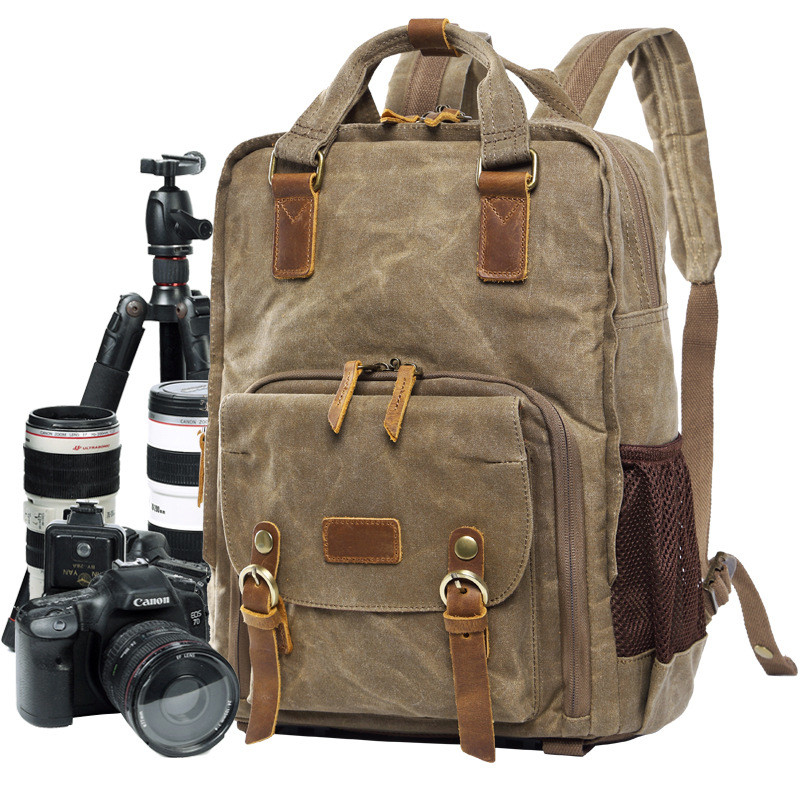 Batik Waterproof Canvas Digital SLR Photo Backpack Durable Photographer Padded Camera Bag for Camera Lens Flash