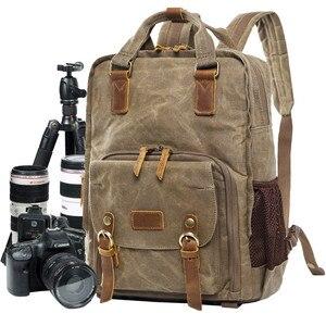 Image 1 - Batik wodoodporna płócienna lustrzanka cyfrowa plecak na akcesoria fotograficzne wytrzymały fotograf wyściełana torba na aparat fotograficzny do obiektywu Flash fit 15 Laptop