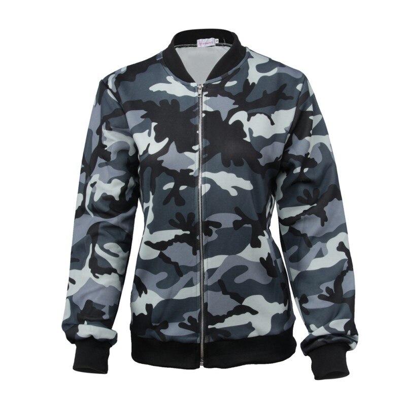 Women Autumn Long Sleeve Fashion Stand Collar Coat Women Camouflage   Jackets   Coats Casual   Basic     Jacket