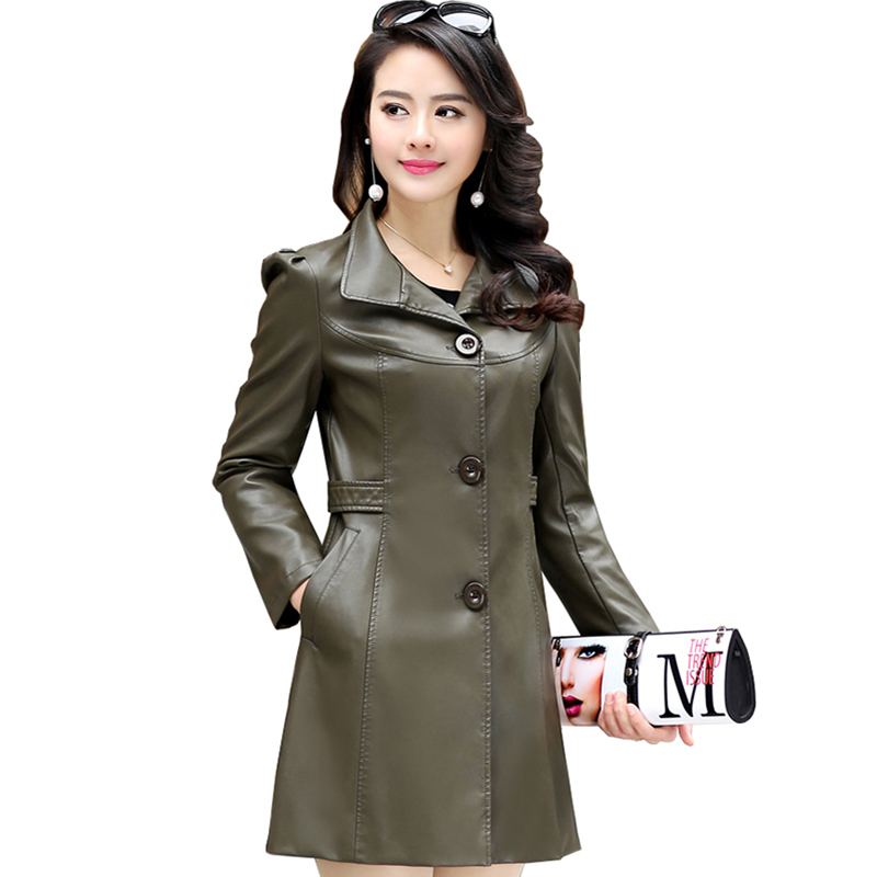 Plus Size Women   leather   Coats 2017 Winter autumn Slim Long Sleeve female Jackets slim Outerwear Long Coats Black parka QH0570