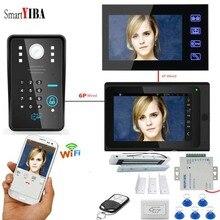 SmartYIBA 7 «Wifi sonnette caméra électronique magnétique serrure de porte interphone Kits visiophone porte téléphone 12 V alimentation bouton de sortie