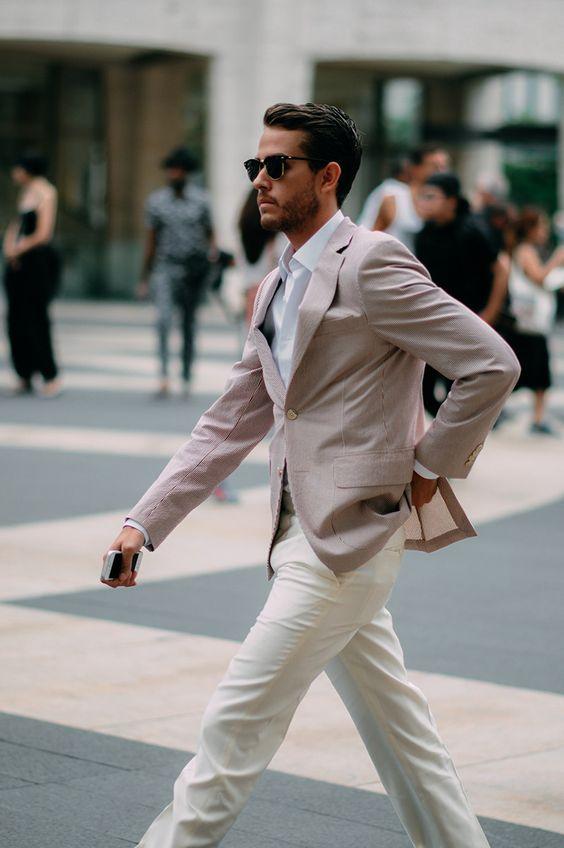 2017 Latest Coat Pant Designs Light Pink Casual Outfit Men Suits Summer Street Custom Slim Fit 2 Pieces Tuxedo Jacket+Pants 175