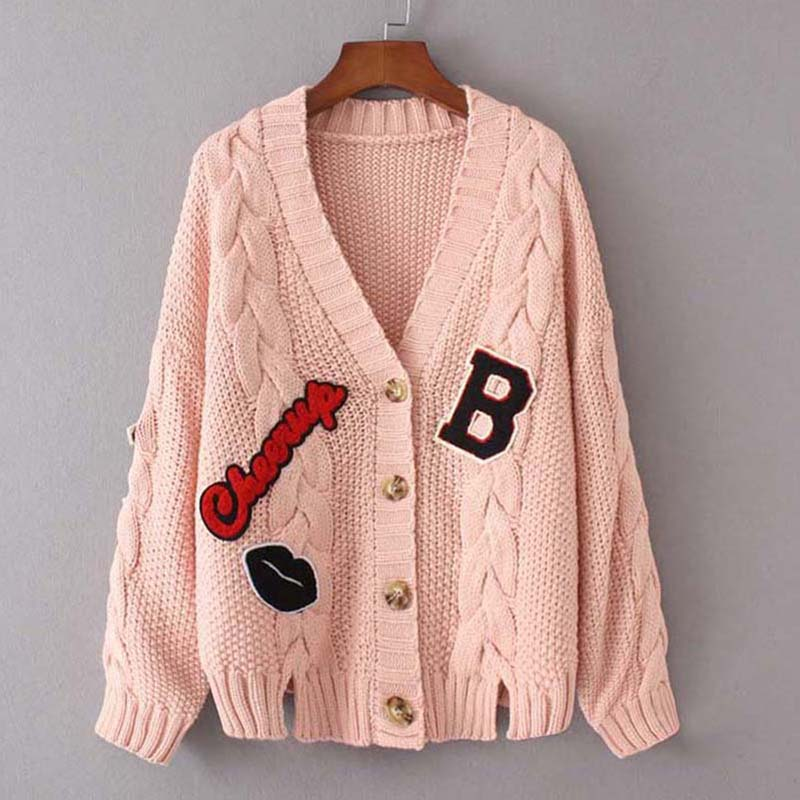 2017 New Spring Autumn female Knitted Sweater Cardigan V Neck Letter Womens winter Jacket Loose short Sweaters coats QH0735