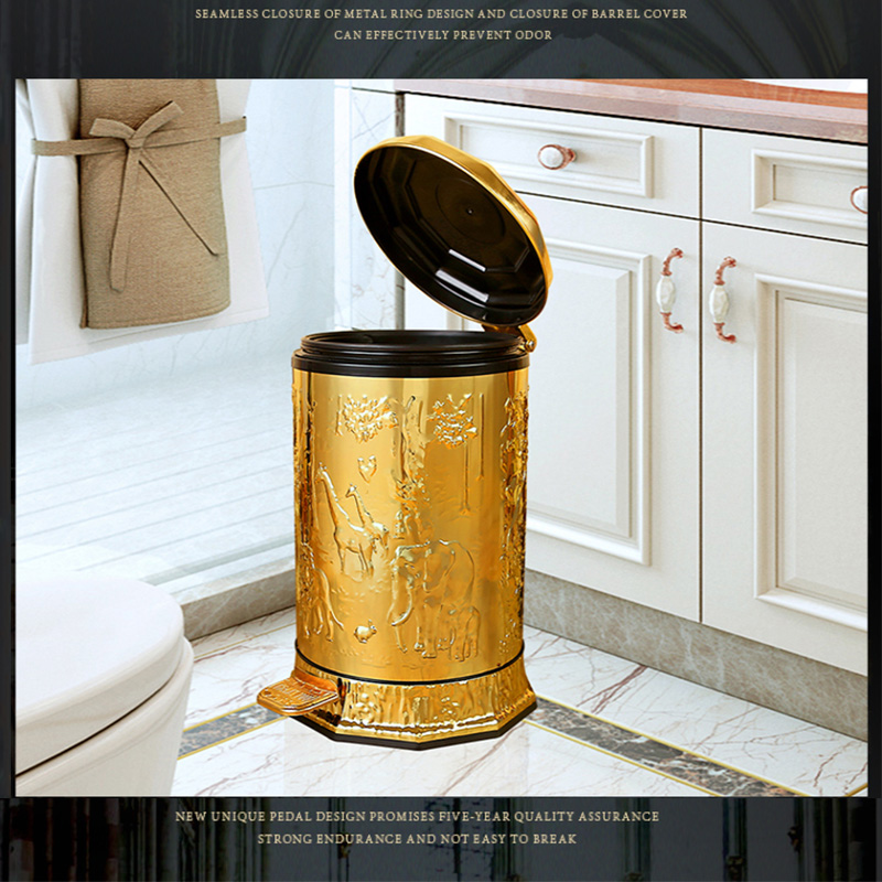 European luxury gold plated foot pedal metal trash bin trash bags garbage bags waste can garbage bin for home Hotel Supplies|Waste Bins| - AliExpress