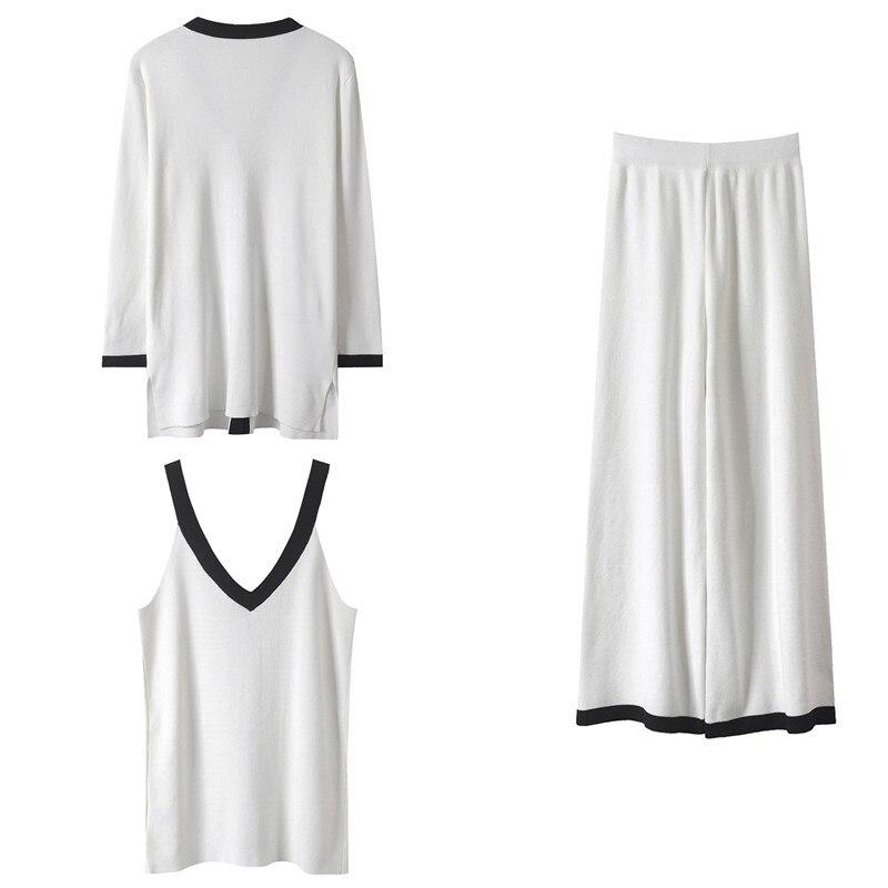 Piste White Femmes Femme Costume Ensemble Cardigans Set Pièces Décontracté black Twinset Camisoles Sruilee Pantalon 3 Split Tricot Nouveau Mignon Tenues 2019 ygaqHAwpA