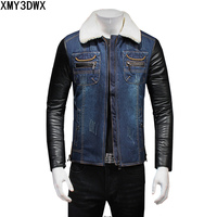 Winter Jackets M 5XL Mens Coats Clothing Fashion Stitching Jean Denim Jacket Fashion Male Outwear Male