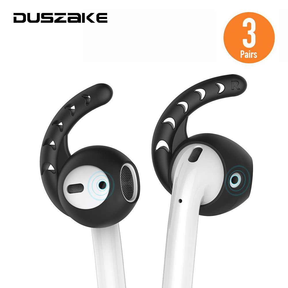 Duszake Replacement Soft Silicone Antislip Ear Cover Hook Earbuds Tips Earphone Silicone Case for AirPods EarPods 3 Pairs Black