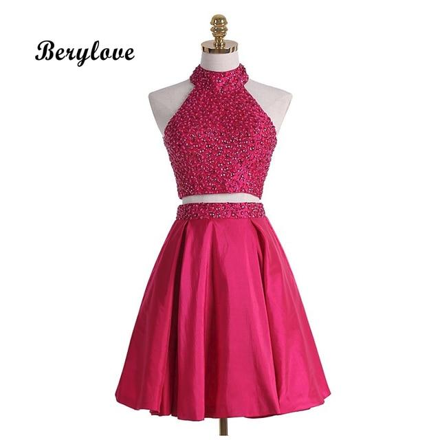 BeryLove Two Pieces Short Prom Dresses 2018 Mini High Neck Fuchsia Prom Gowns Plus Size 2 Pieces Short Graduation Dresses China