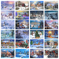 5D Diy Diamond Painting New Year Cross Stitch Full Diamond Embroidery Mosaic Landscape Winter Scenery Pattern