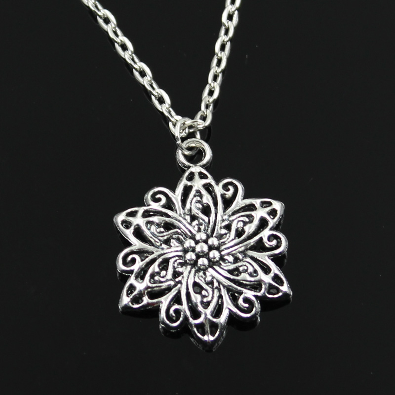 New Fashion Flower Pendants Round Cross Chain Short Long Mens Womens Silver Color Necklace Jewelry Gift