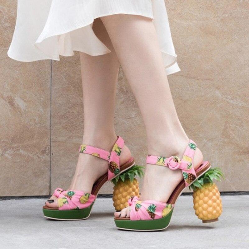Imprimer plate forme sandales femmes talons hauts talon étrange chaussures d'été pour femmes confortables dames sandales chaussures élégantes-in Sandales femme from Chaussures    1