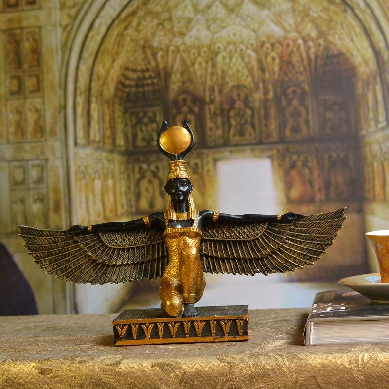 Ancient Egyptian Wings Sun Goddess Isis Statue Decoration Tourist Souvenir Statue Patron Saint Ornament High Quality Resin Craft statue