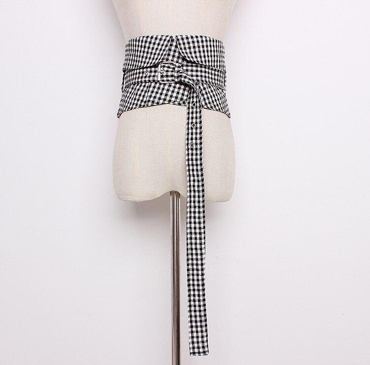 Women's Runway Fashion Plaid Checked Fabric Cummerbunds Female Dress Corsets Waistband Belts Decoration Wide Belt R1292